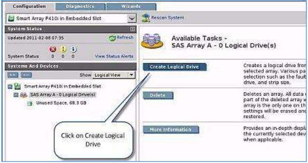 در این بخش می بایست گزینه ی Create Logical Drive را انتخاب نمایید. راه اندازی سرور ESXi